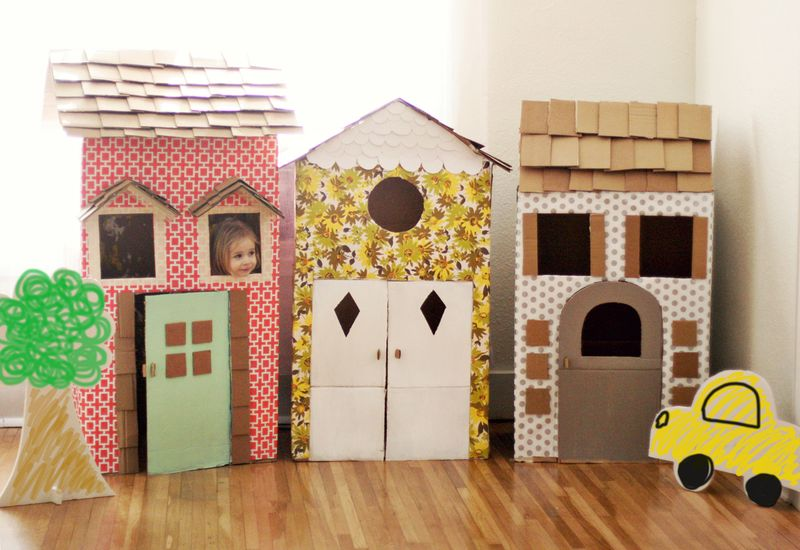 Cardboard Box Playhouse from A Beautiful Mess