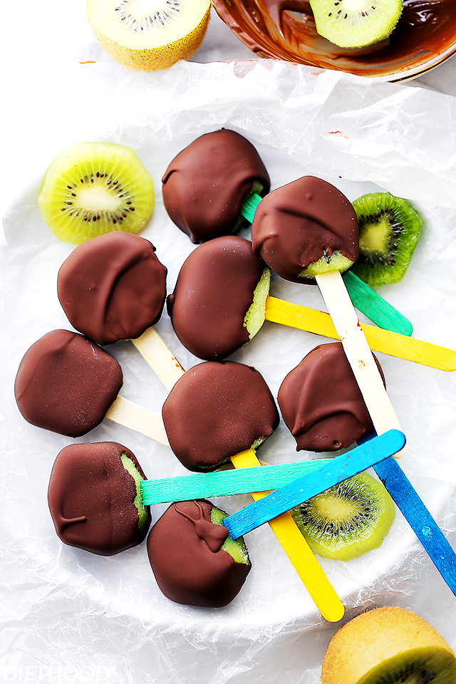 Chocolate Covered Kiwi Pops Recipe from Diethood