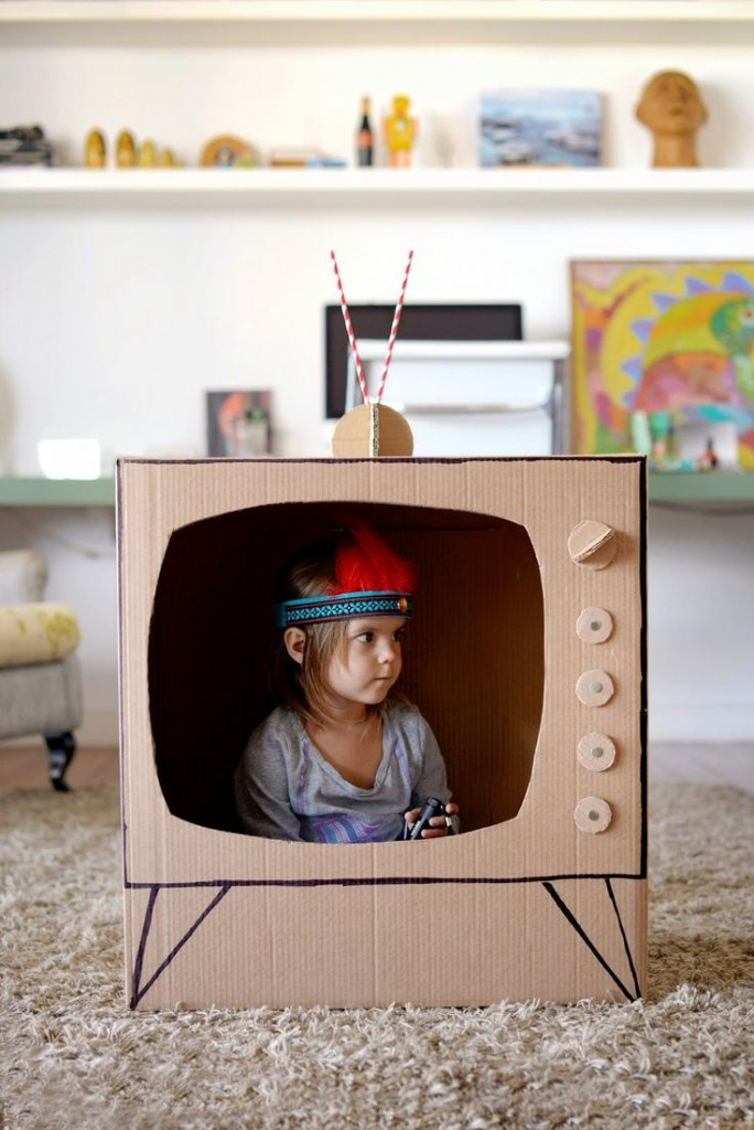 DIY Cardboard Box TV from Petite and Small
