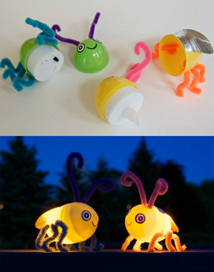 DIY Lightup Fireflies Made Using Plastic Easter Eggs from Apartment Therapy