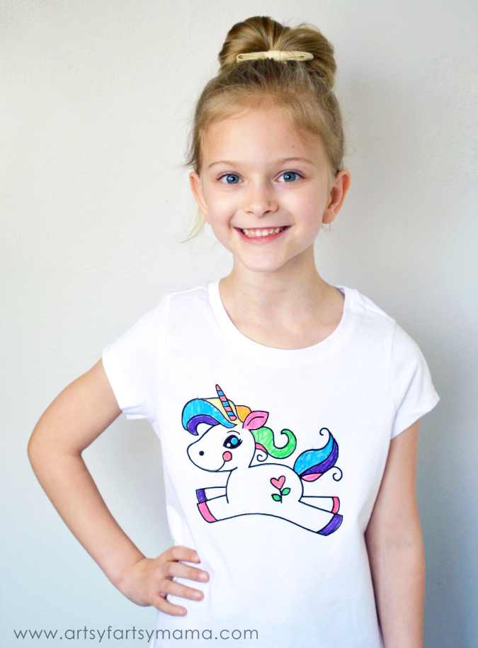 DIY Unicorn Coloring Tshirt from Artsy Fartsy Mama
