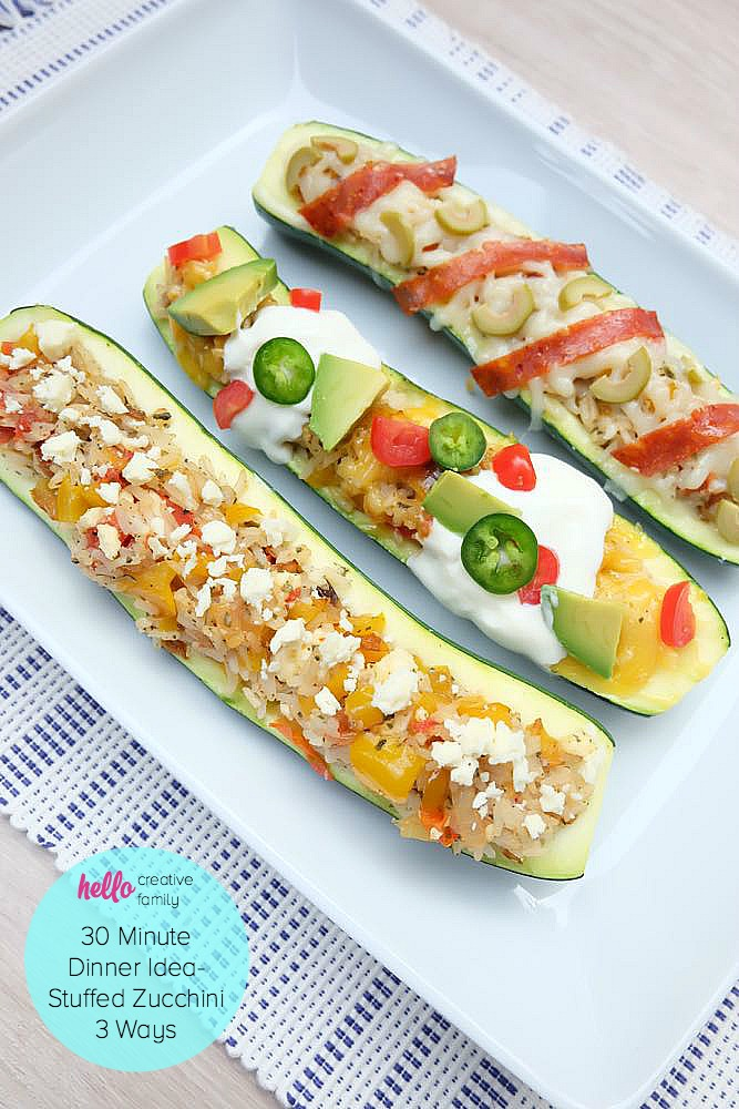 Looking for a 30 minute meal dinner idea? Whether you are craving pizza, tacos or meatless monday this easy stuffed zucchini recipe has 3 variations to keep your whole family satisfied.
