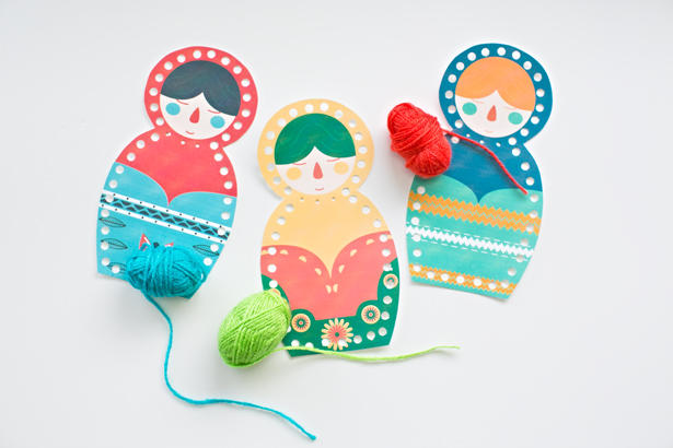 Matryoshka Doll Lacing Card Printable from Hello Wonderful