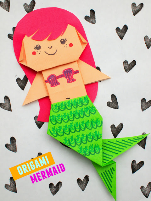Origami Mermaid Instructions from Pink Stripey Socks