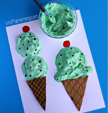 Puffy Paint Ice Cream Cones from Crafty Morning