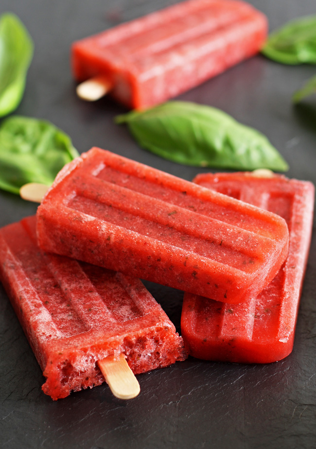 Strawberry Basil Moscato Ice Pop Recipe from A Night Owl Blog