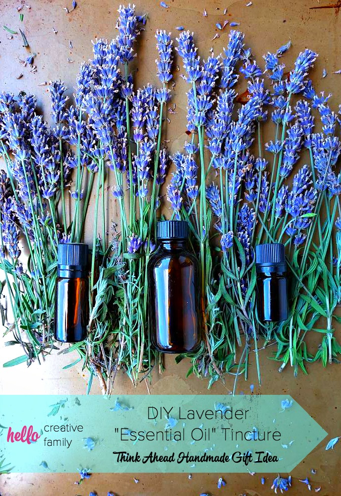 Who knew it was so easy? Learn to make DIY Lavender Essential Oil Tincture at home! The first post in Hello Creative Family's Think Ahead Handmade Gift Ideas Series! This lovely lavender extract can be used in a variety of lavender recipes and DIY projects! Simple to make and makes a lovely gift!