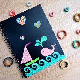 This DIY Washi Tape Stickers Decorated Notebook may just be the cutest thing I've ever seen! Decorate a dollar store sketchpad with DIY Washi Tape Stickers for an easy, personalized handmade gift idea for under $5.00!This DIY Washi Tape Stickers Decorated Notebook may just be the cutest thing I've ever seen! The sketchpad is from the dollar store and is so easy to decorate with DIY washi tape stickers. This makes such a great handmade gift idea for under $5.00!