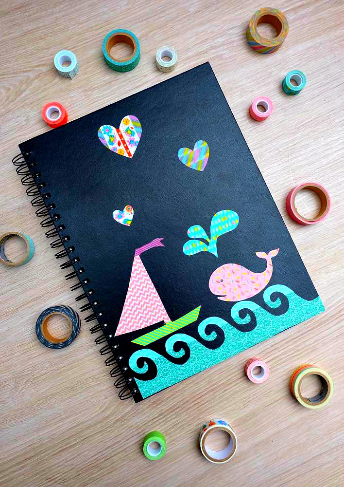 Handmade Book Cover Decoration : Diy washi tape stickers decorated notebook think ahead