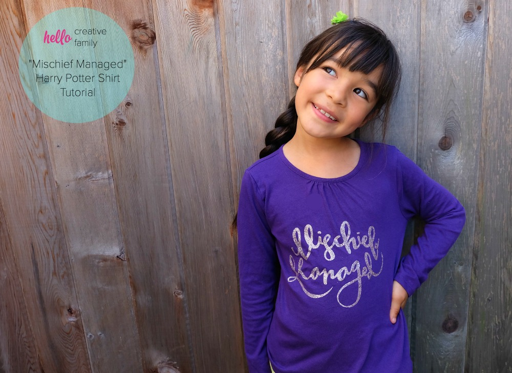 Harry Potter Fans will flip for this adorable DIY Mischief Managed shirt! Post includes a full tutorial on how to make the shirt on a Cricut along with the free SVG file! This would make a great handmade gift idea!