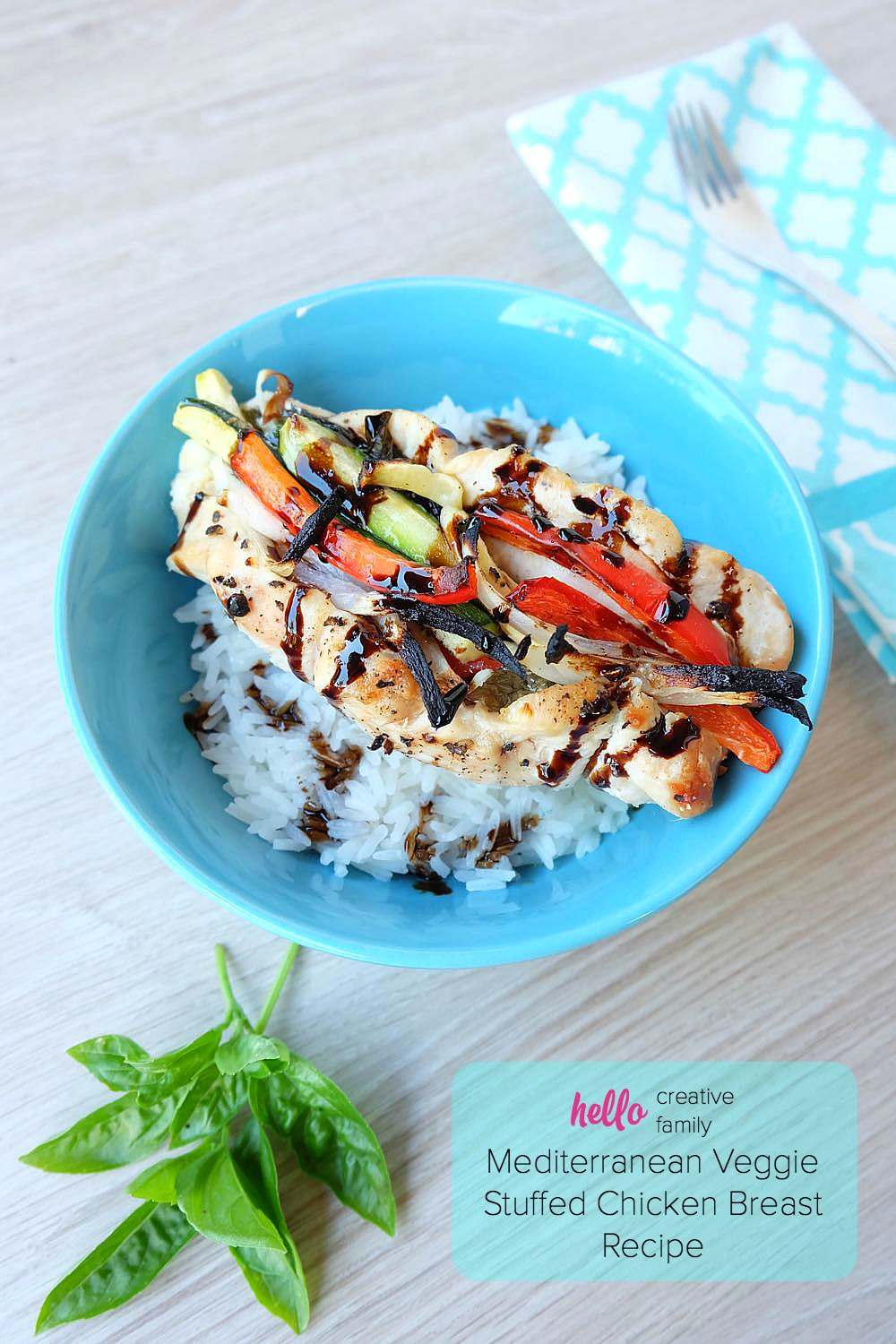 This delicious and flavorful meal, is a healthy, protein packed dinner choice that takes 30 minutes to make, making it a great weeknight meal idea! Even your kids will love this Mediterranean Veggie Stuffed Chicken Breast Recipe!
