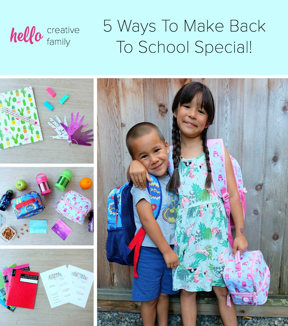 Make back to school special with 5 simple ideas from Hello Creative Family. Whether you're crafty or you need a bit of extra help, we have you covered with easy ideas that will make back to school fun!