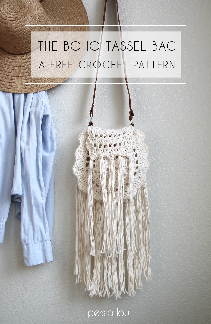 27 Crochet Projects That Are Going To Make You Want To Learn How To Crochet: Boho Tassle Crochet Bag Pattern from Persia Lou