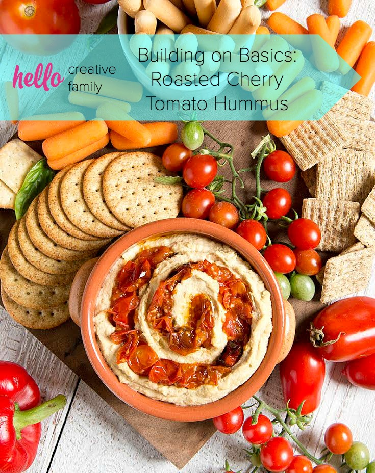 Learn how to roast cherry tomatoes and then use them to make a delicious roasted cherry tomato hummus recipe in this Building On Basics post from Hello Creative Family.