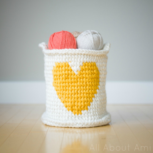 27 Crochet Projects That Are Going To Make You Want To Learn How To Crochet: Crochet Heart Yarn Basket Pattern from All About Ami