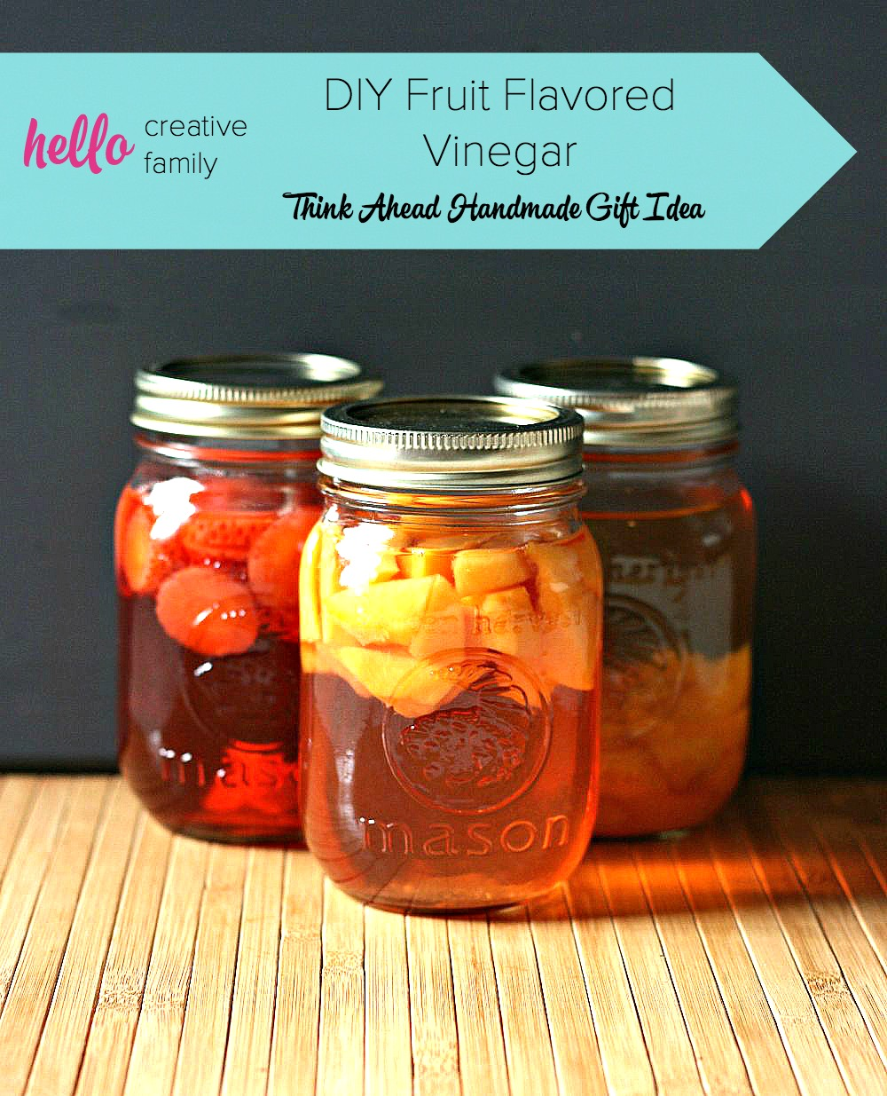 "Another great handmade gift idea from Hello Creative Family. You'll want to check out their ""think ahead handmade gift ideas"" series. Learn how to make fruit flavored vinegar using berries or soft fleshed fruit. Perfect for foodie Christmas gifts. She uses Strawberry Vinegar, Peach Vinegar & Plum Vinegar as examples. I want to try cherry!"