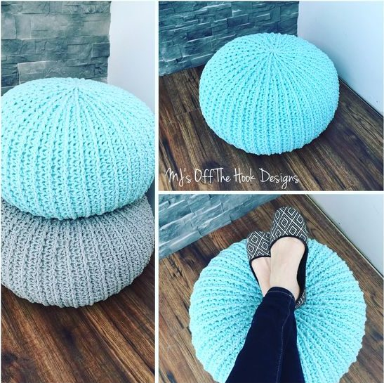 27 Crochet Projects That Are Going To Make You Want To Learn How To Crochet: Crochet Floor Pouf from MJ's Off The Hook Designs