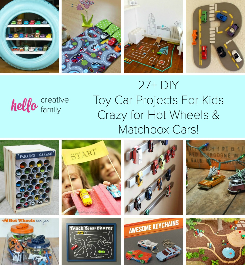 Have a car crazy kiddo? Hello Creative Family shares tons of DIY Toy Car Projects inspiration with over 27 craft and DIY projects using toy cars! Perfect Handmade Gift Ideas For Kids Crazy for Hot Wheels & Matchbox Cars!