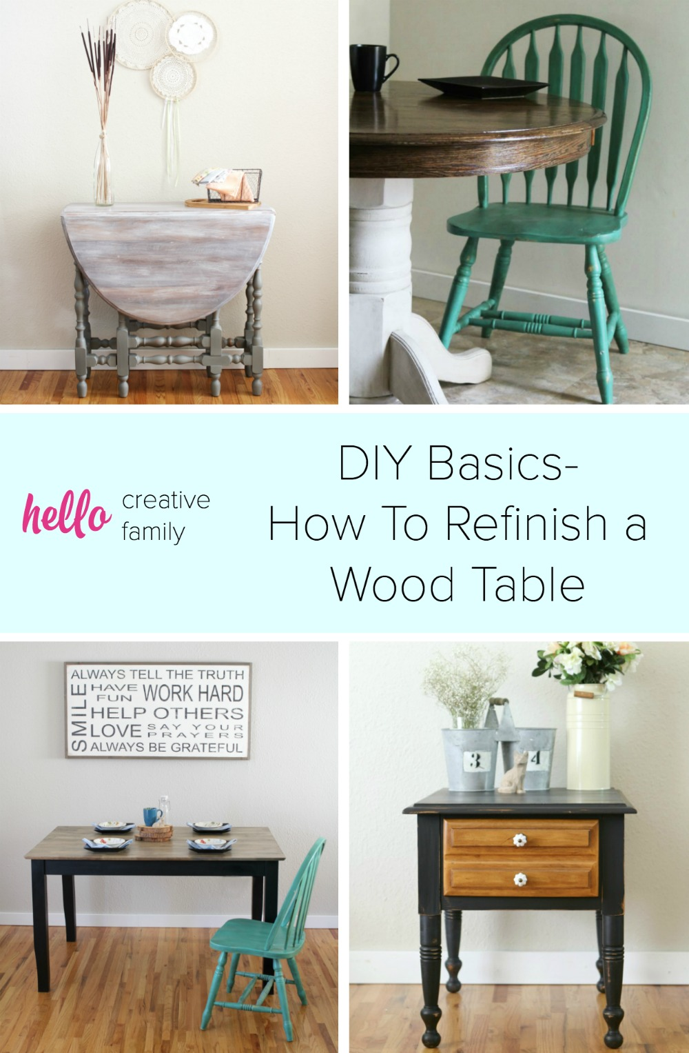 diy basics how to refinish a wood table hello creative family. Black Bedroom Furniture Sets. Home Design Ideas