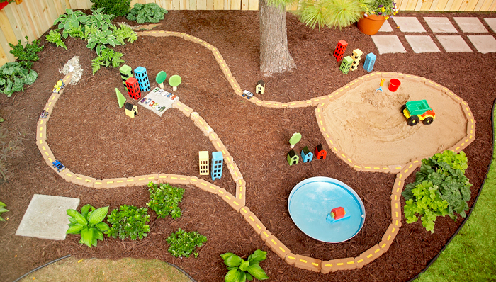 DIY Outdoor Car Racetrack with Tunnel from Lowes