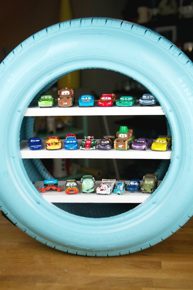 DIY Used Tire Toy Car Shelving from Spaceships and Laserbeams
