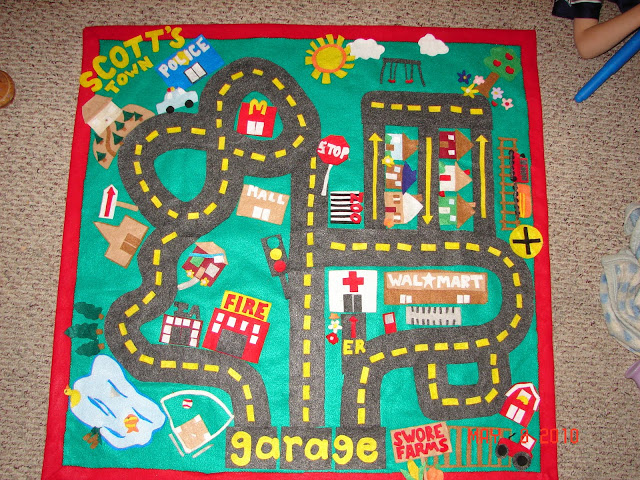 Felt Car Playmat from A Girl and a Glue Gun