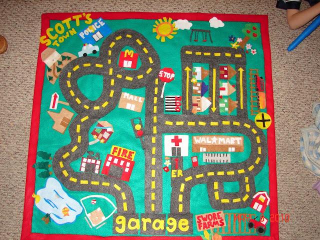 Felt Car Playmat from A Girl and a Glue Gun