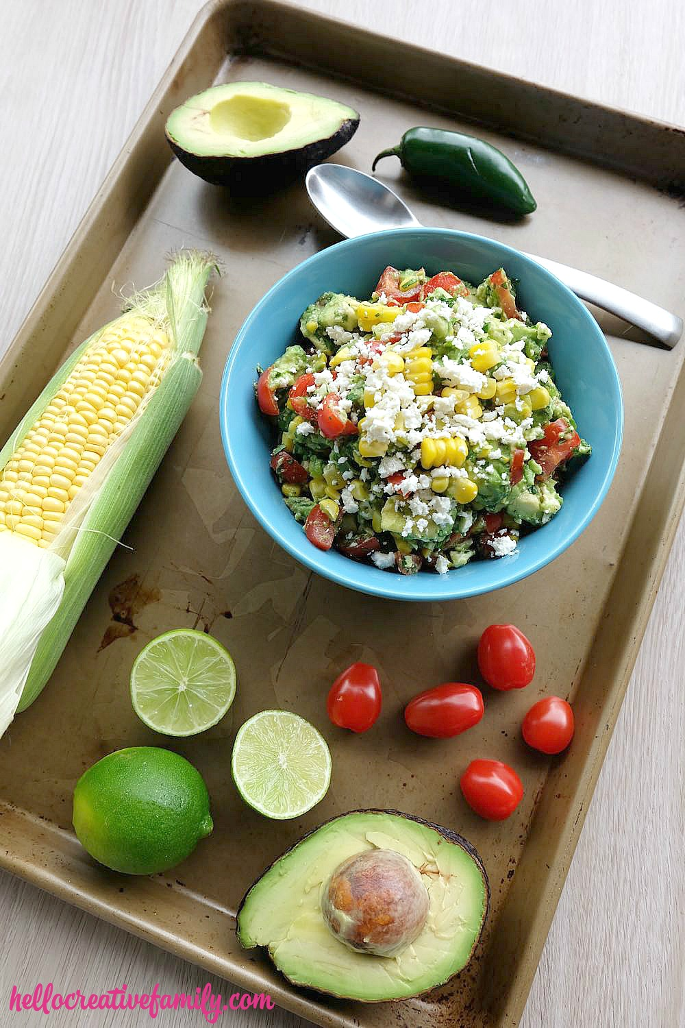 With a bit of heat, a dash of sweet and sour, a sprinkle of salty and a lovely creaminess from the avocado, this recipe is sure to be a hit with everyone who loves a good guacamole. Serve this festive sweet corn guacamole recipe with chips, burritos, fajitas, tacos and tamales or as a topping on chicken or fish!