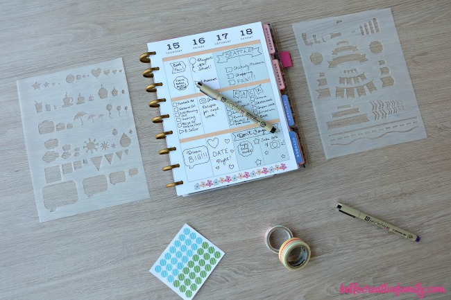 Learn how to make DIY Planner Stencils on the Cricut Explore. Includes a free template for you to use in Cricut Design Space. Perfect for Happy Planners.