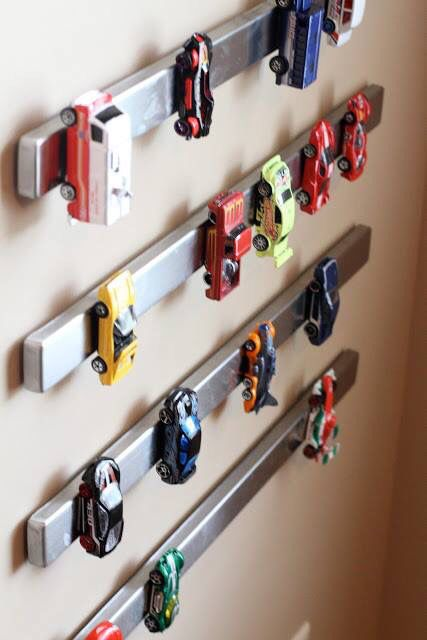Magnetic Knife Rack Toy Car Parking from Pure Wow