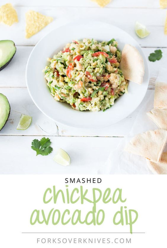 Smashed Chickpea and Avocado Guacamole from Forks Over Knives