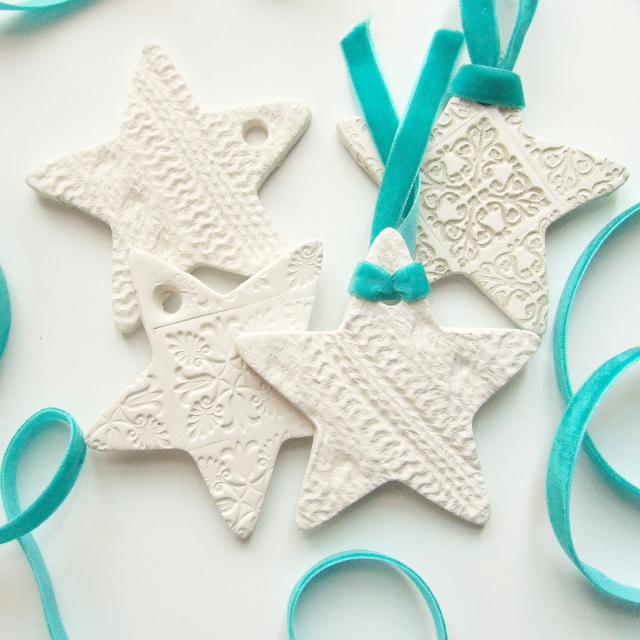 27+ DIY Christmas Ornaments Kids Can Craft- DIY Found Object Embossed Clay Christmas Ornaments from Gathering Beauty