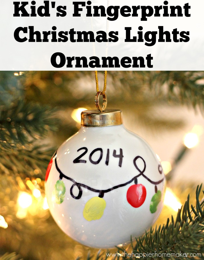 27+ DIY Christmas Ornaments Kids Can Craft- DIY Kid's Fingerprint Christmas Lights Ornament from The Happier Homemaker