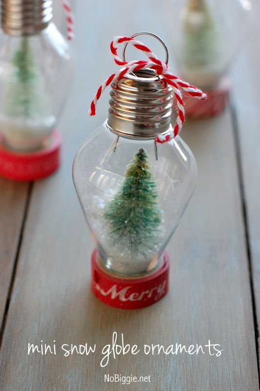 27+ DIY Christmas Ornaments Kids Can Craft- DIY Mini Snow Globe Christmas Ornament from No Biggie