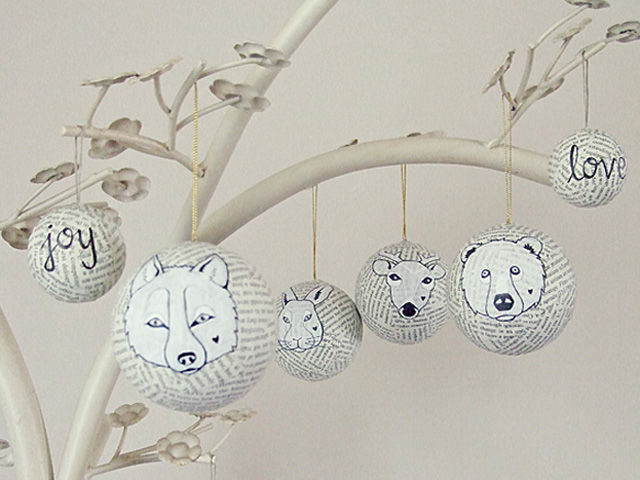 27+ DIY Christmas Ornaments Kids Can Craft- DIY Paper Mache Forest Animal Christmas Ornaments from Country Living