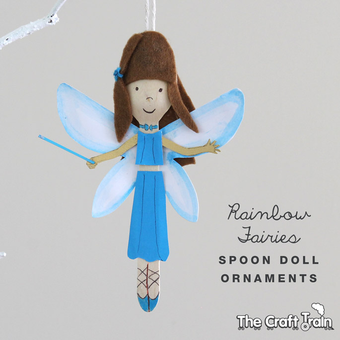 27+ DIY Christmas Ornaments Kids Can Craft- DIY Rainbow Fairy Wooden Spoon Christmas Ornaments from The Craft Train