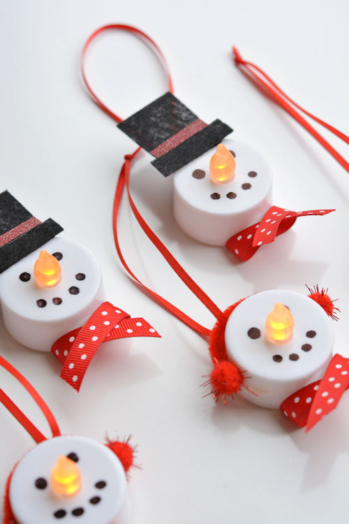 27+ DIY Christmas Ornaments Kids Can Craft- DIY Tealight Snowmen Christmas Ornaments from One Little Project