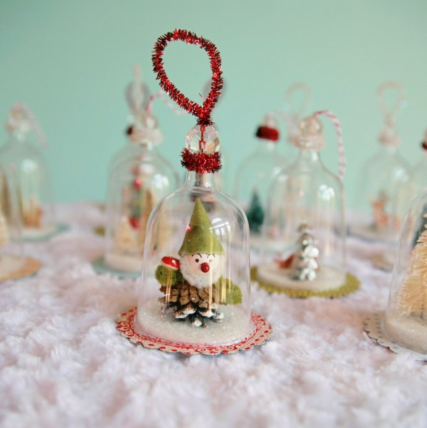 27+ DIY Christmas Ornaments Kids Can Craft- DIY Vintage Bell Jar Inspired Christmas Ornaments from My So Called Crafty Life