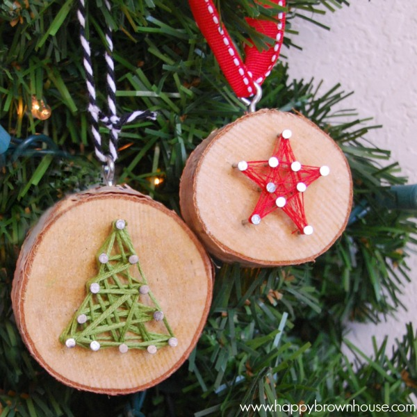 27+ DIY Christmas Ornaments Kids Can Craft- DIY Wood Slice String Art Ornament from Happy Brown House