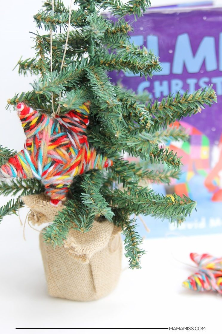 27+ DIY Christmas Ornaments Kids Can Craft- DIY Yarn Wrapped Star Inspired by Elmer's Christmas from Mama Miss