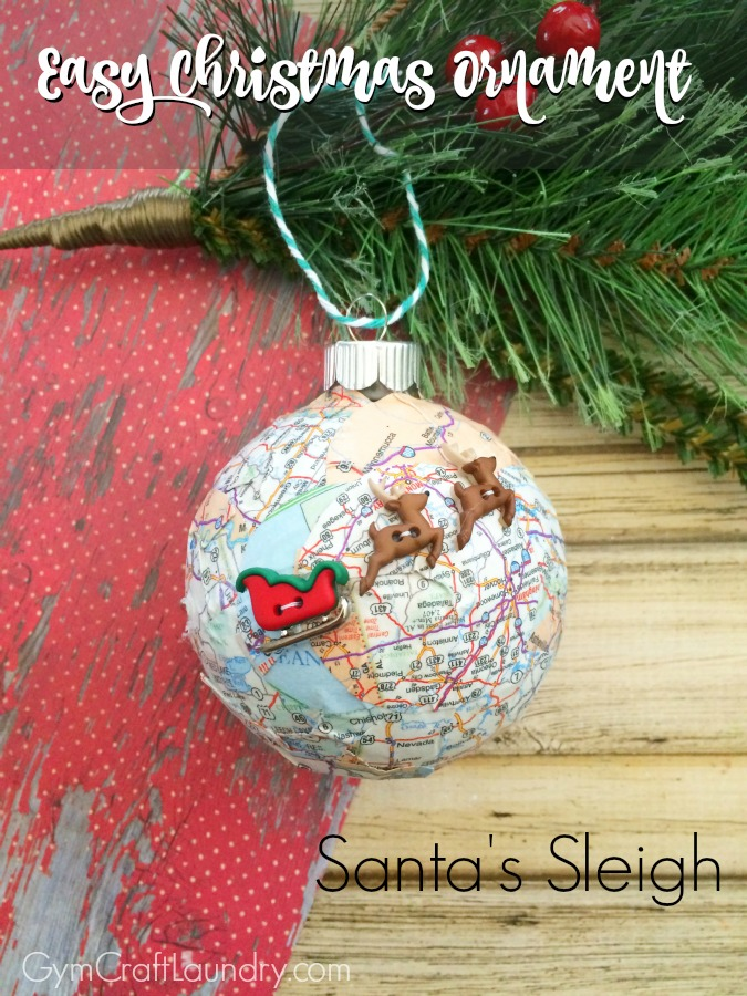 27 diy christmas ornaments kids can craft decoupage santas sleigh map christmas ornament from