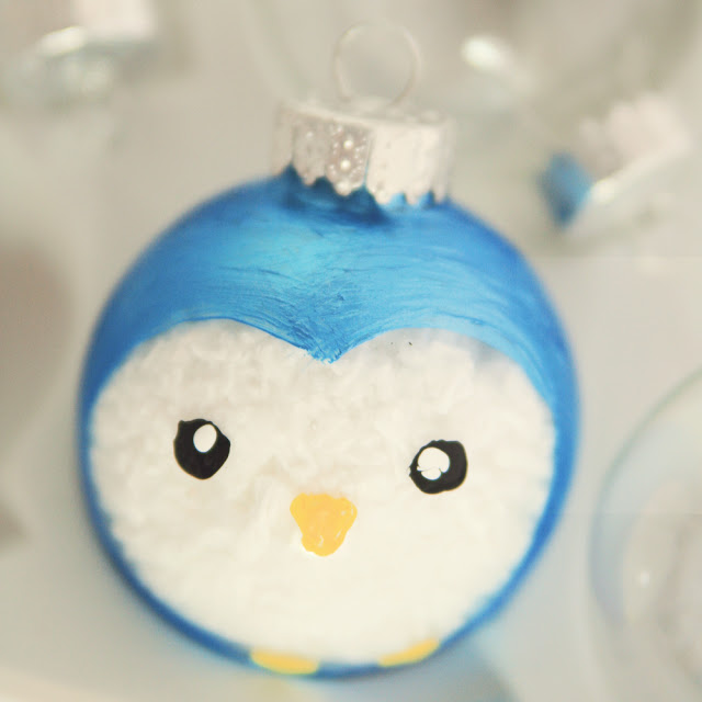 27+ DIY Christmas Ornaments Kids Can Craft- Painted Penguin Christmas Ornament from Little Gray Fox