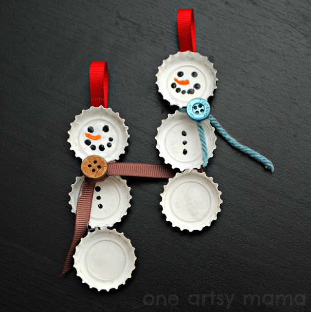 27+ DIY Christmas Ornaments Kids Can Craft- Upcycled Bottle Cap Snowman Christmas Ornaments from One Artsy Mama