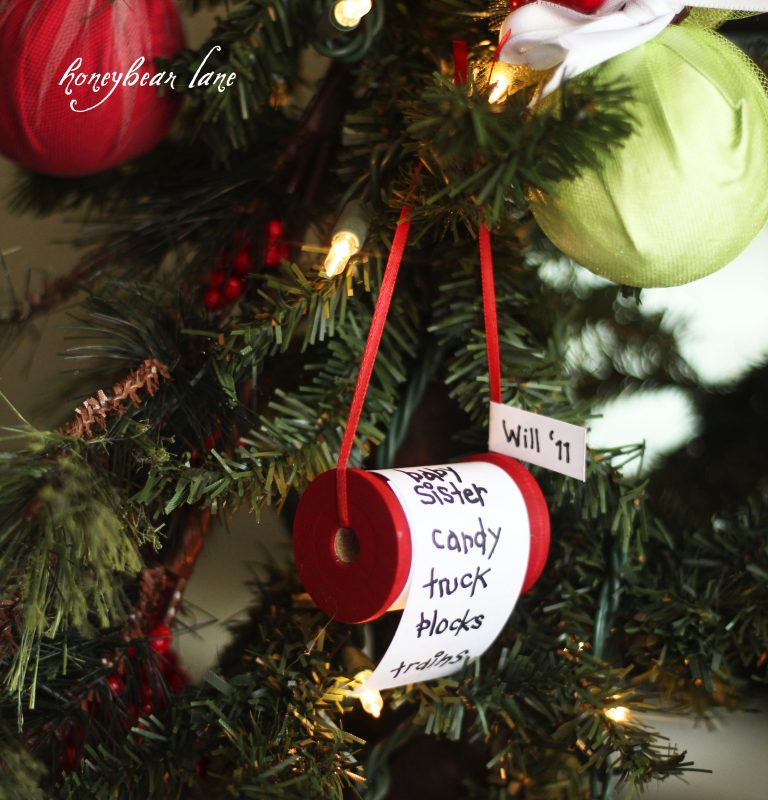 27+ DIY Christmas Ornaments Kids Can Craft- Upcycled Spool of Thread Christmas List Ornament from Honey Bear Lane