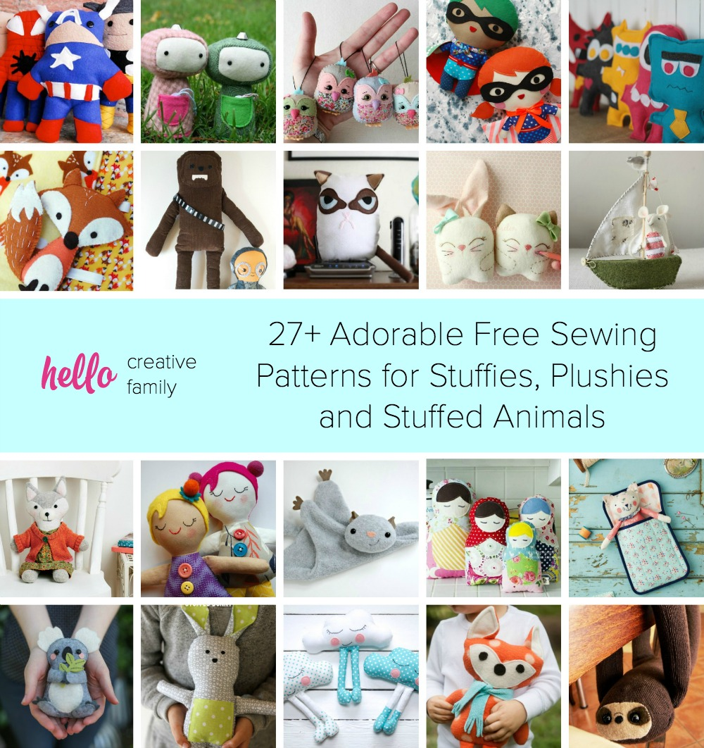 27+ Adorable Free Sewing Patterns for Stuffies, Plushies