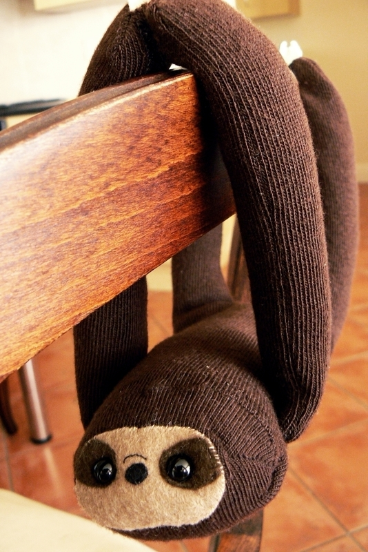 27+ Adorable Free Sewing Patterns for Stuffies, Plushies, Stuffed Animals and Other Felt and Fabric Toys- DIY Sock Sloth Tutorial from Cut Out And Keep