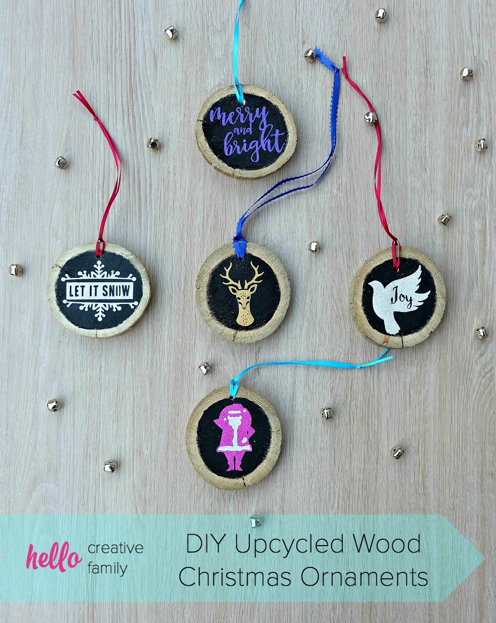 27+ DIY Christmas Ornaments Kids Can Craft- DIY Upcycled Wood Christmas Ornaments would make a great handmade gift idea!