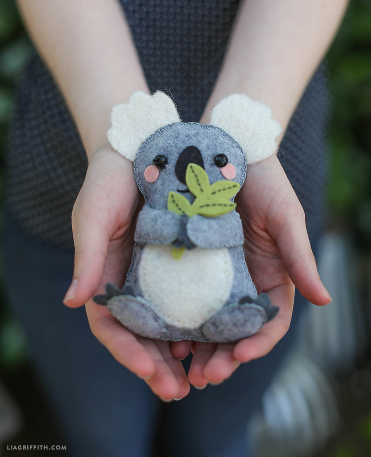 27+ Adorable Free Sewing Patterns for Stuffies, Plushies, Stuffed Animals and Other Felt and Fabric Toys- Felt Koala Stuffie Pattern from Lia Griffith