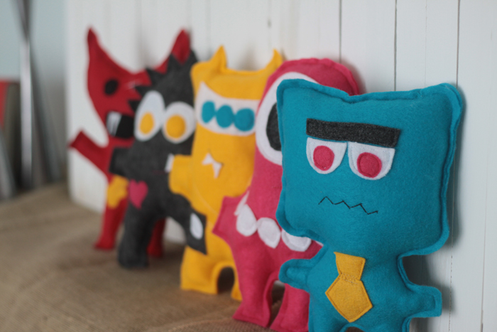 27+ Adorable Free Sewing Patterns for Stuffies, Plushies, Stuffed Animals and Other Felt and Fabric Toys- Felt Plush Monsters from It's Always Autumn