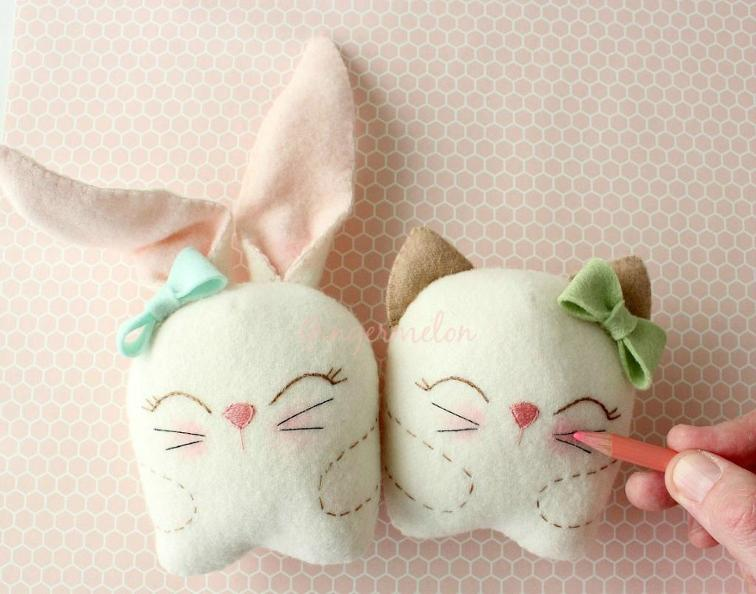27+ Adorable Free Sewing Patterns for Stuffies, Plushies, Stuffed Animals and Other Felt and Fabric Toys- Snuggle Bunny and Kitty Plushie from Craftsy